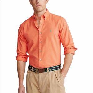 Ralph Lauren man orange linen long sleeve shirt L